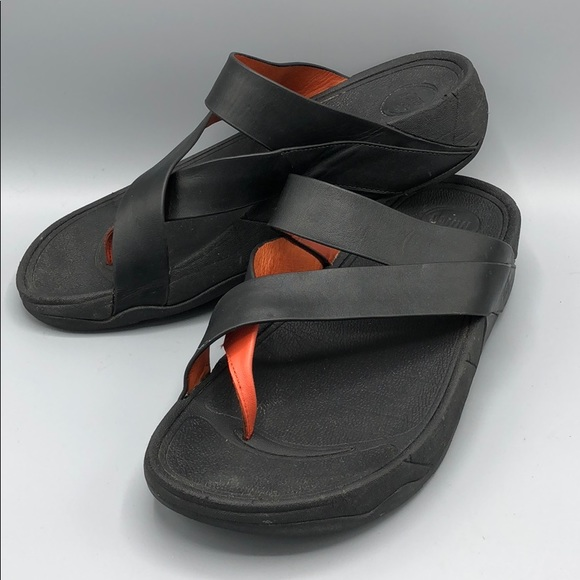 9dff85943 Fitflop Shoes - FitFlop Sling Black Leather Sandal Size 9
